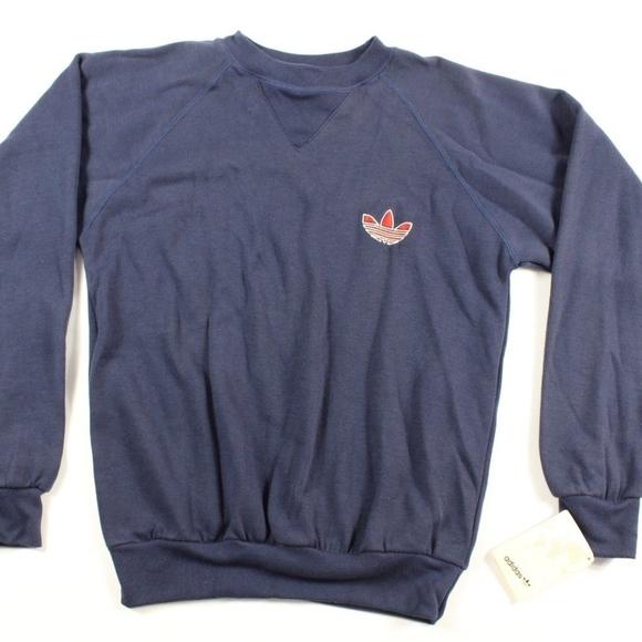 759524cda58a3 Vintage New Adidas Trefoil Crewneck Sweater Blue NWT